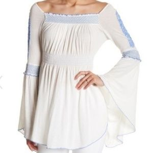 NWT Free People Valley Embroidered Top Ivory